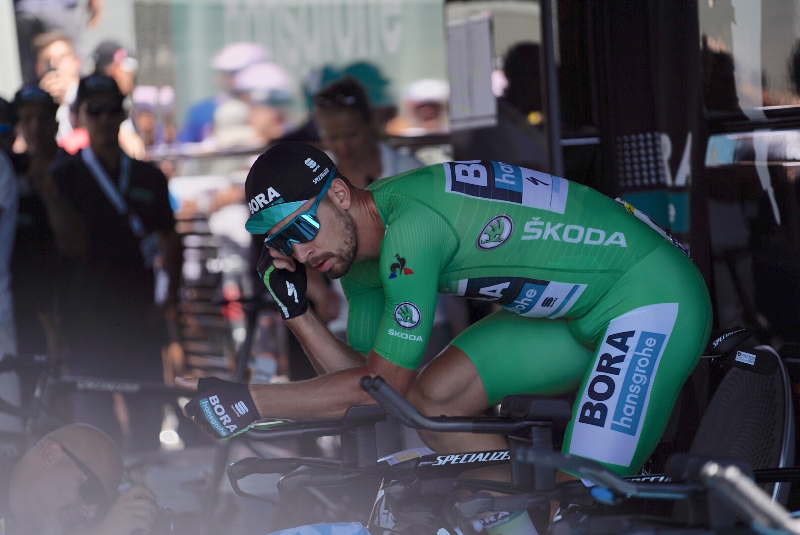 Peter Sagan warms up before the Time Trial in Pau.