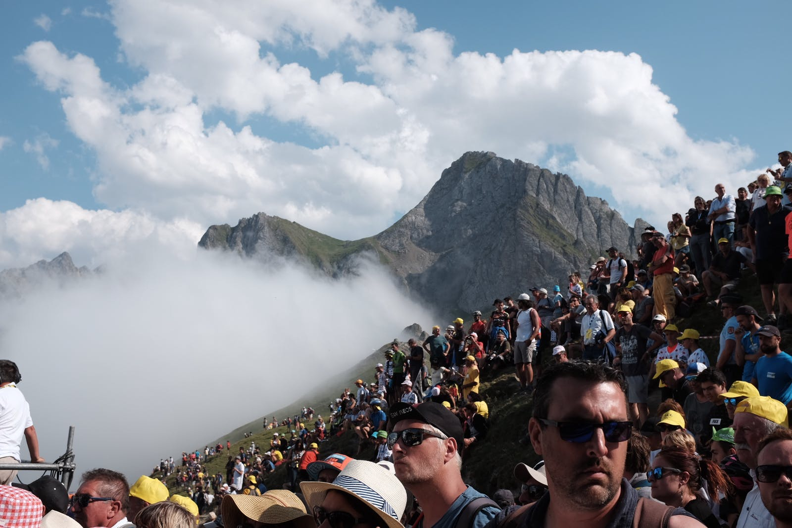 Fans on the mountainside